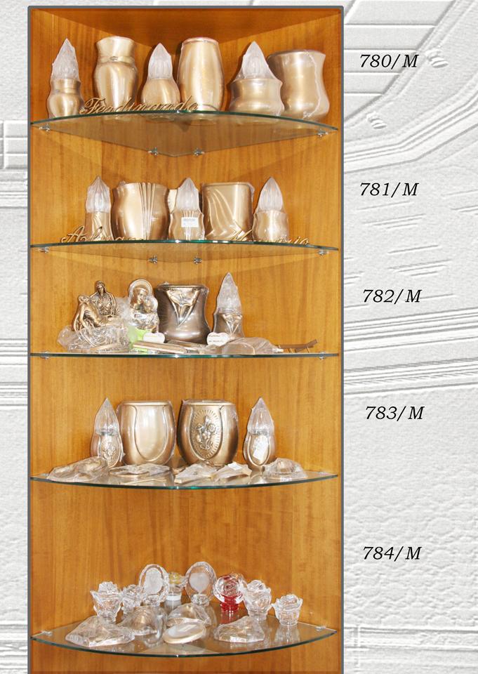 Espositore di accessori in bronzo e cristalli, lampade, vasi, portafiori e miniature